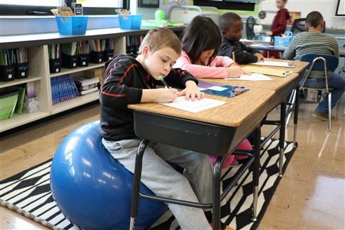 Fourth graders use stability balls