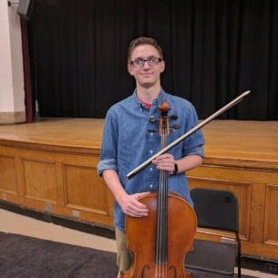Senior Robert Paddock with cello