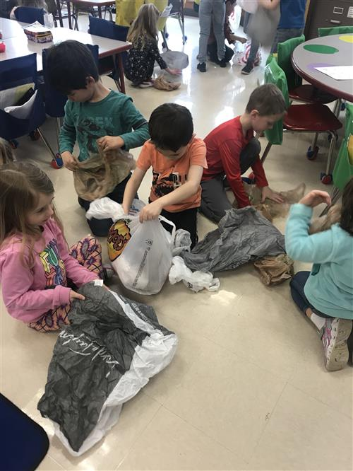 Students count plastic bags