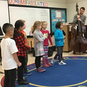 BPO musician with Smallwood students