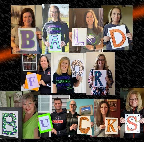 Teachers hold letters to spell Bald for Bucks