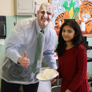 Mr. Crombie gets pied by Mariam Natiq