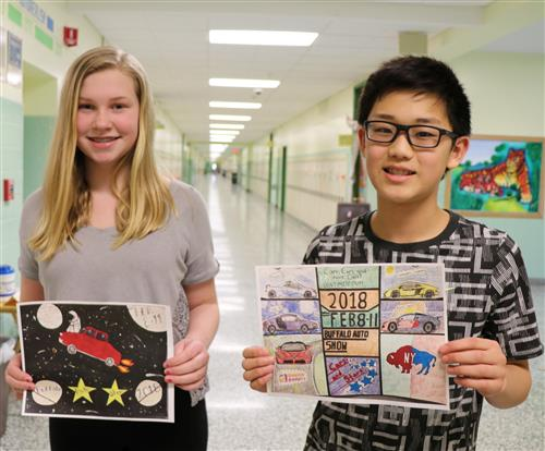 Middle school poster contest winners hold drawings