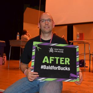 AMS Bald for Bucks Team gets to Restyle Mr. Crombie's Beard
