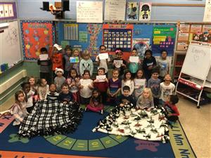 Two Kindergarten Classes Make Blanket and Card Donations to Roswell Park Cancer Institute