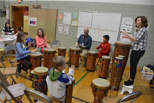 Students learn to drum
