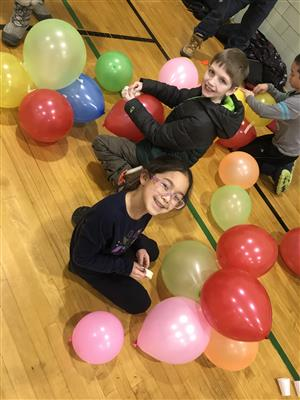 Students at balloon challenge