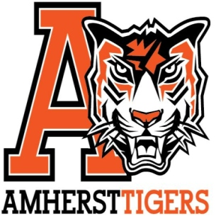 Amherst athletic logo tiger head and Capital A