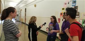 WBFO reporter interviews students