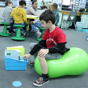 First grade classroom using flexible seating