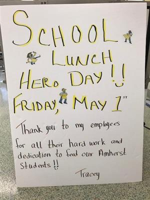 School lunch hero day sign